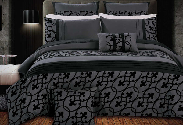 Lana Flocked Quilt Cover Set King Charcoal and Black