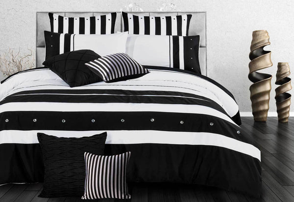 Splice Quilt Cover Set Queen Black and White