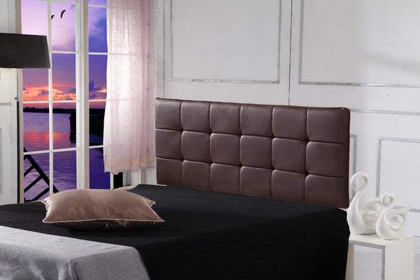 PU Leather Double Bed Deluxe Headboard Bedhead  Brown
