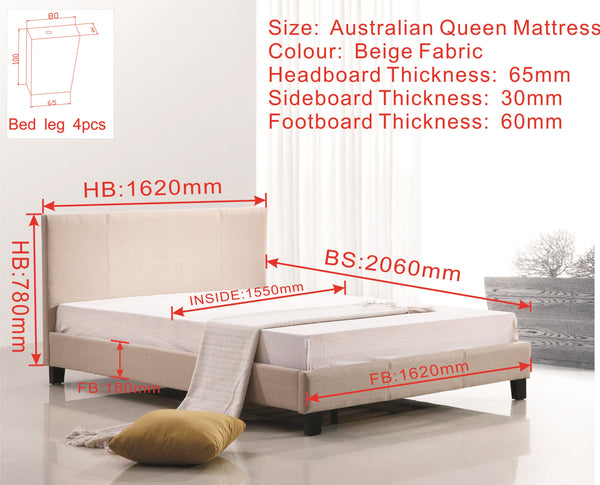 Queen Linen Fabric Bed Frame Beige