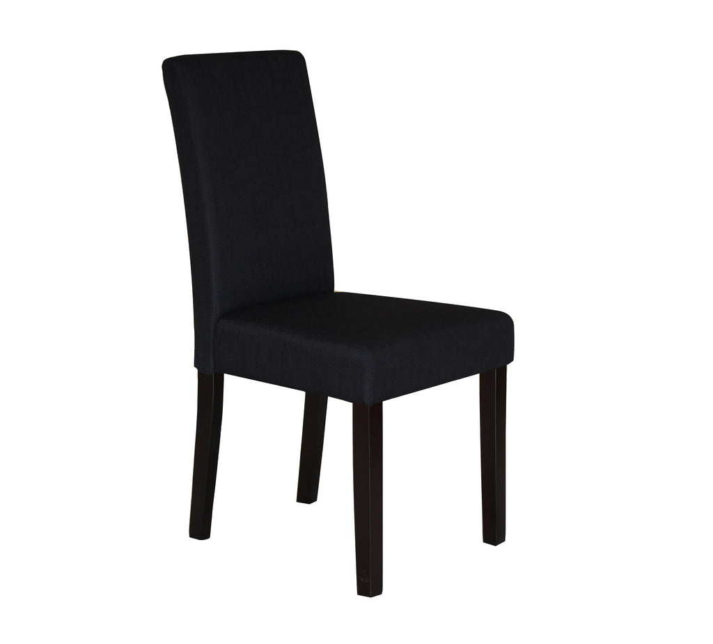 2 x Premium Fabric Linen Palermo Dining Chairs High Back  Black