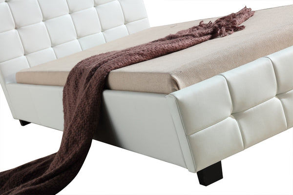 King Single PU Leather Deluxe Bed Frame White