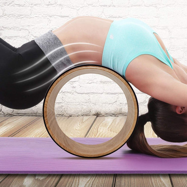 Yoga Pilates Wheel Cork Circle Prop Back Chest Hips Abdomen Stretch Roller