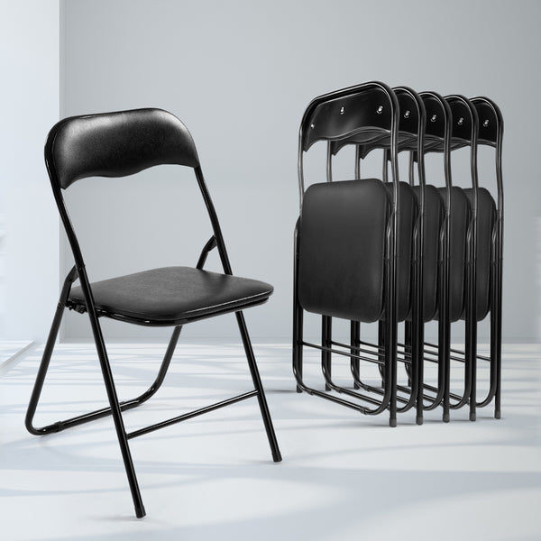 6x Portable Vinyl Folding Chair Padded Seat Steel Frame Black 6 Pack
