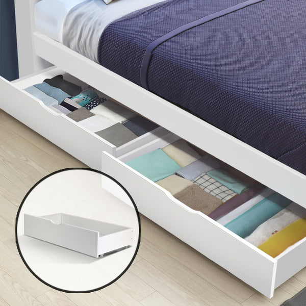 Set of 2 Single  Wooden Trundle Drawers  White