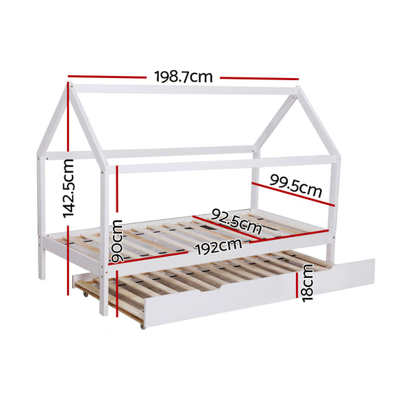Wooden Bed Frame Single Size Trundle Mattress Base Timber Platform Pine Wood White
