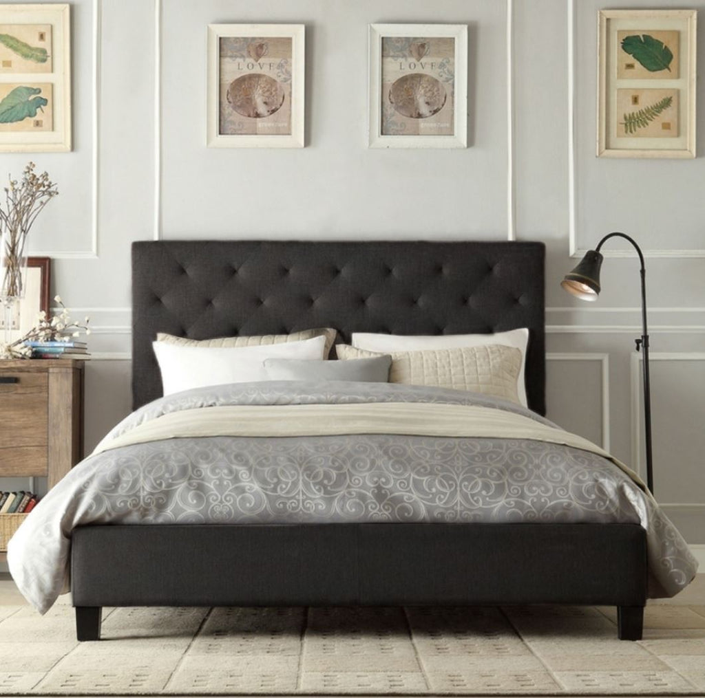 Krystal Bed Frame Queen Charcoal