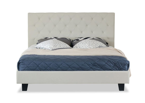 Krystal Bed Frame King White Beige