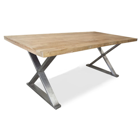 Julian Reclaimed Elm Dining Table 180cm (Natural / Stainless Steel)- Free Shipping - Darkhorse Creations