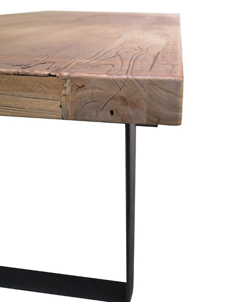 Caleb Reclaimed Elm Dining Table 150cm  (Natural / Black)- Free Shipping - Darkhorse Creations