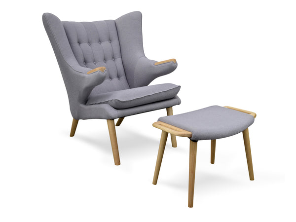 Designer Ash Wood Chair and Foot Stool (Grey) - FREE SHIPPING AUSTRALIA WIDE - Darkhorse Creations