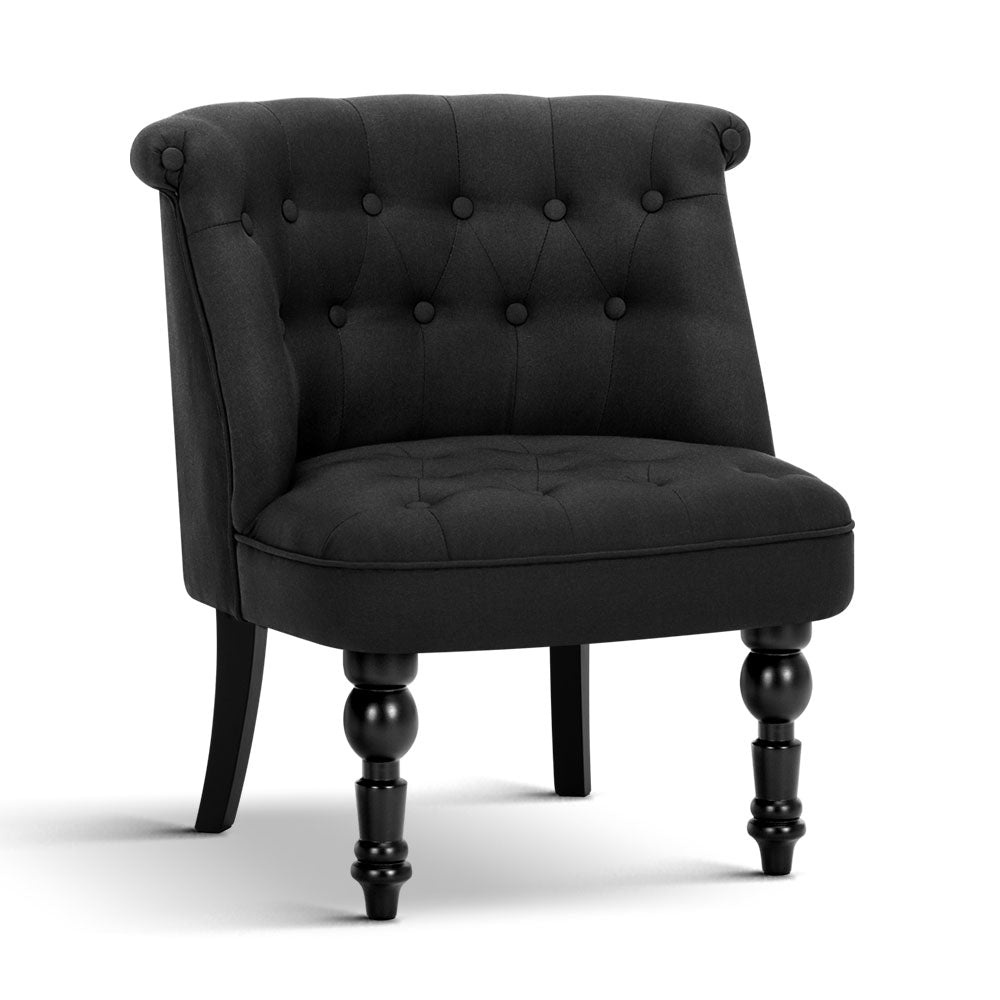 French Provincial Linen Accent Chair Small Black