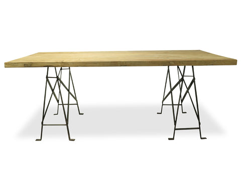 Aiden Reclaimed Elm & Ornate Steel Dining Table 198cm  - Free Shipping - Darkhorse Creations