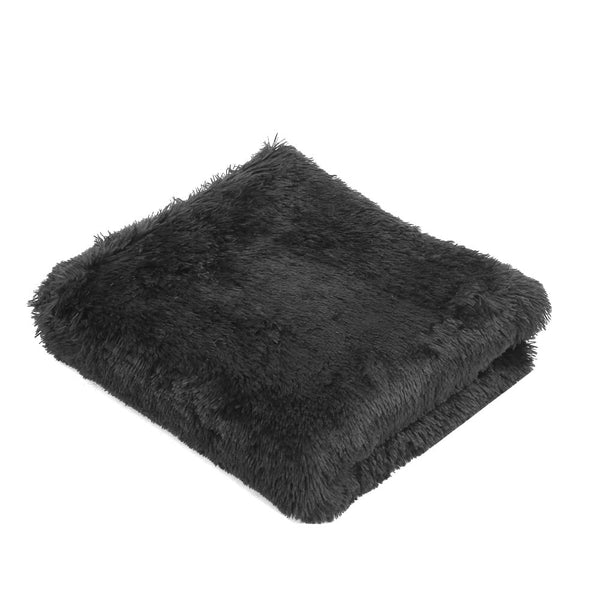 Floor Rugs Ultra Soft Shaggy Rug Large 200x230cm Carpet Mat Area Black