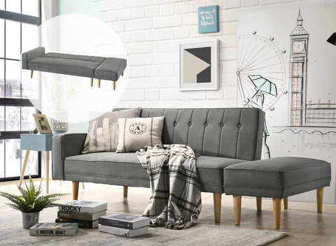 Atlantis 3 Seater Sofa Bed with Ottoman Smoke Grey