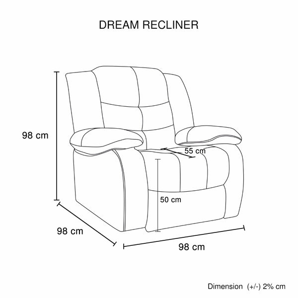 Dream Recliner Bonded Leather 1R BROWN