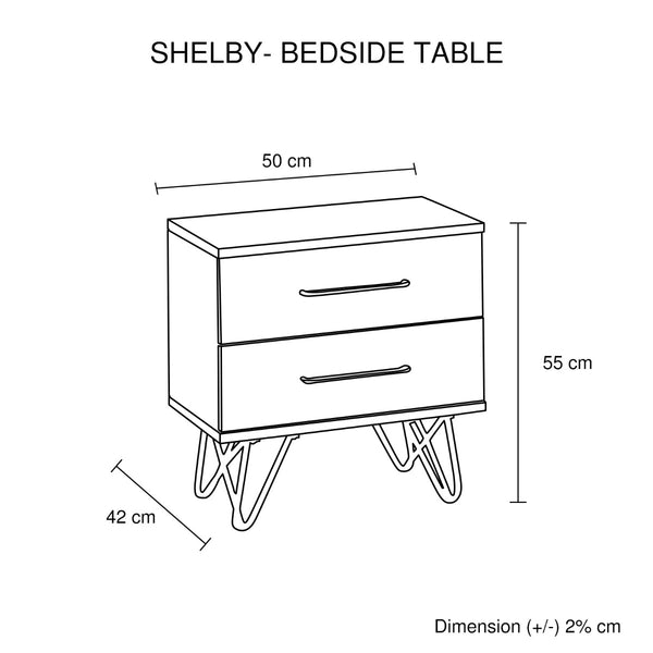 Shelby Bedside Table  2 Drawers