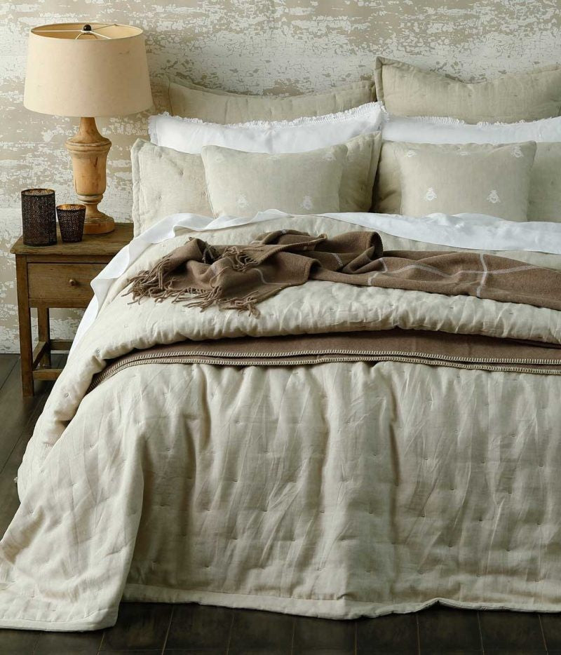 Laundered Linen King Natural Bedspread Set by MM Linen