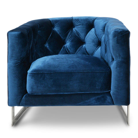 Houston Velvet Accent Chair Silver and Blue