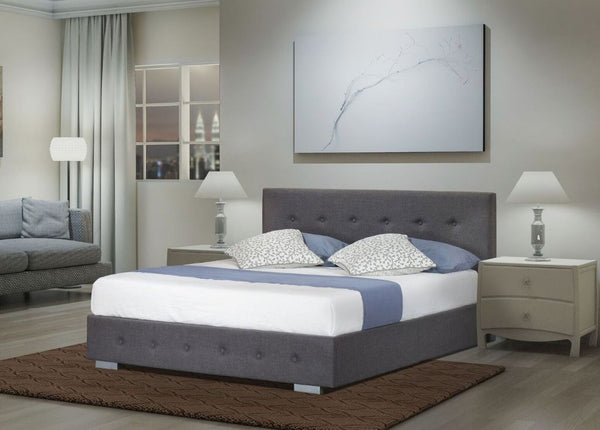 Nina Linen Gas Lift Bedframe Grey Double