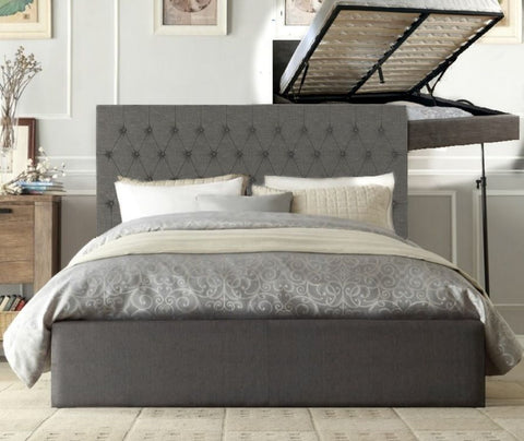 Nerelle Linen Gas Lift Bed Frame Queen grey