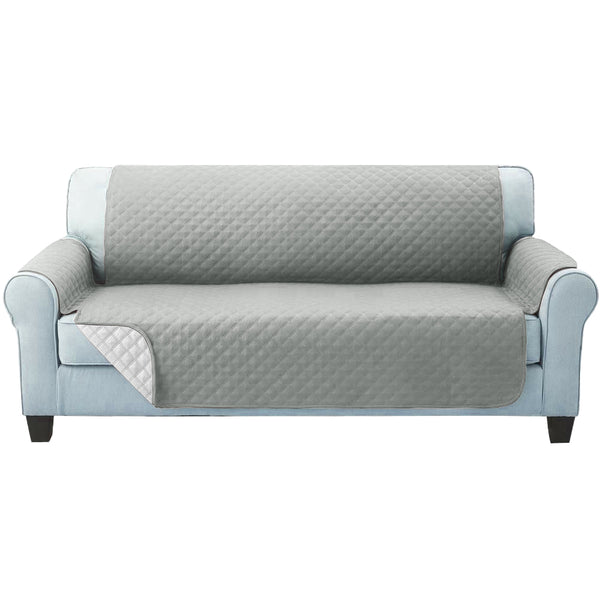 Sofa Cover Quilted Couch Covers Protector Slipcovers 3 Seater Grey