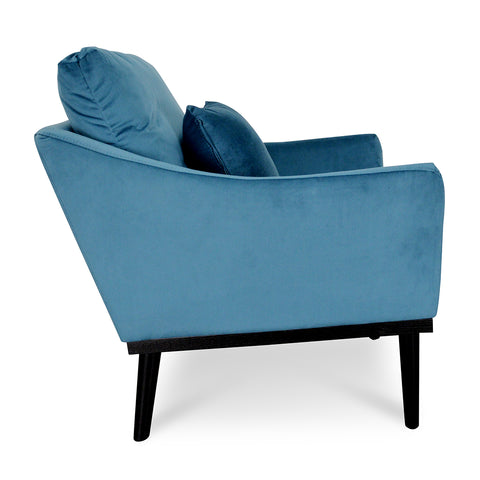 Portland Velvet Accent Chair Blue and  Black