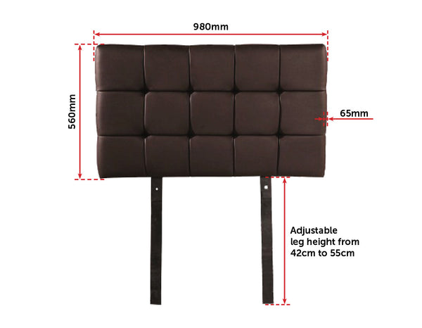 PU Leather Single Bed Deluxe Headboard Bedhead  Brown