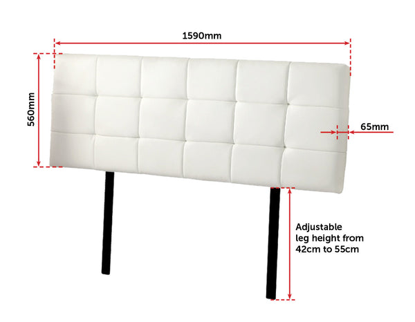 PU Leather Queen Bed Deluxe Headboard Bedhead  White