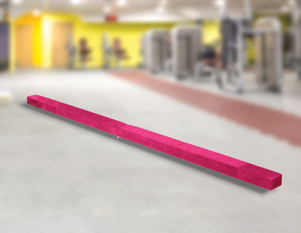 2.2m Gymnastics Folding Balance Beam Pink Synthetic Suede