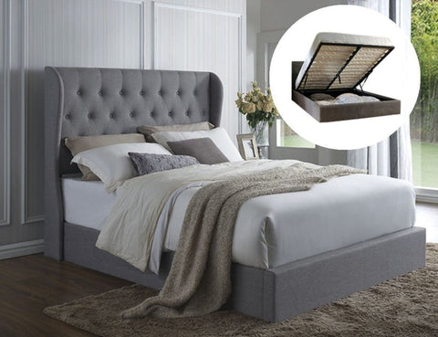 Irena Winged Gas Lift Storage Bed Frame King grey