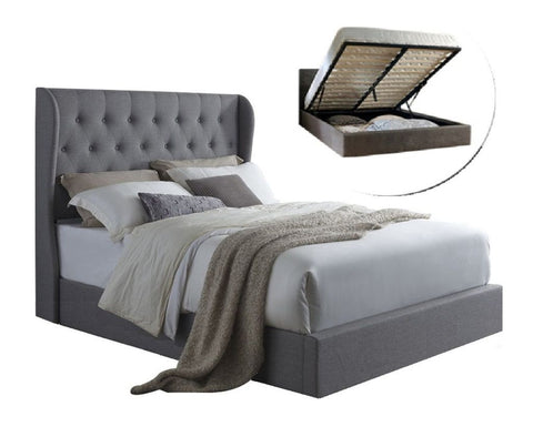 Irena Winged Gas Lift Storage Bed Frame Queen (Grey) - Free Shipping - Darkhorse Creations