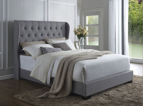 Irena Winged Bedframe Queen grey