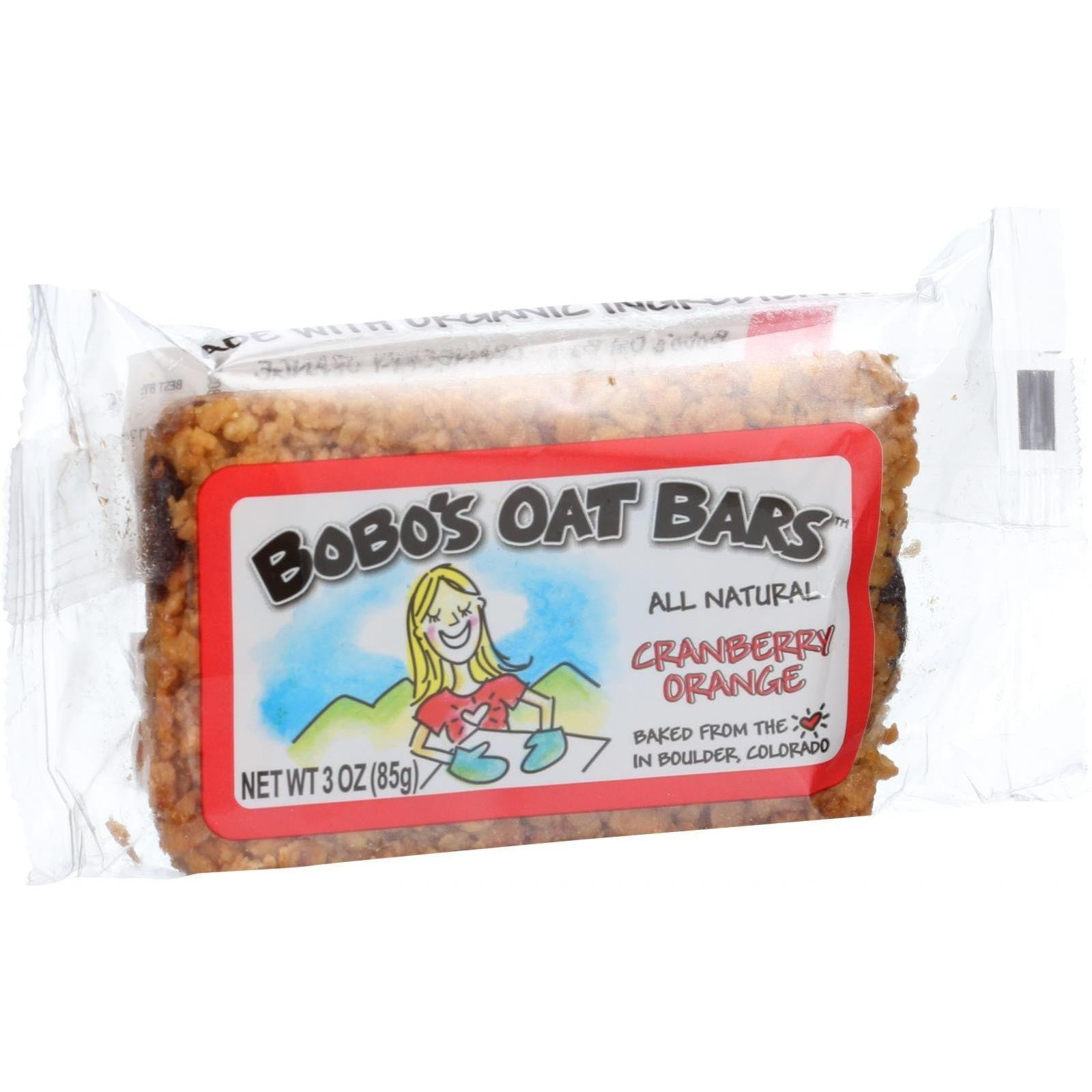 Bobo's Oat Bars - All Natural - Cranberry Orange - 3 Oz Bars - Case Of 12