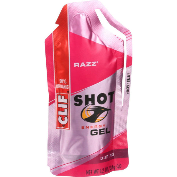 Clif Bar Organic Clif Shot Energy Gel - Razz - Case Of 24 - 1.2 Oz Pouches