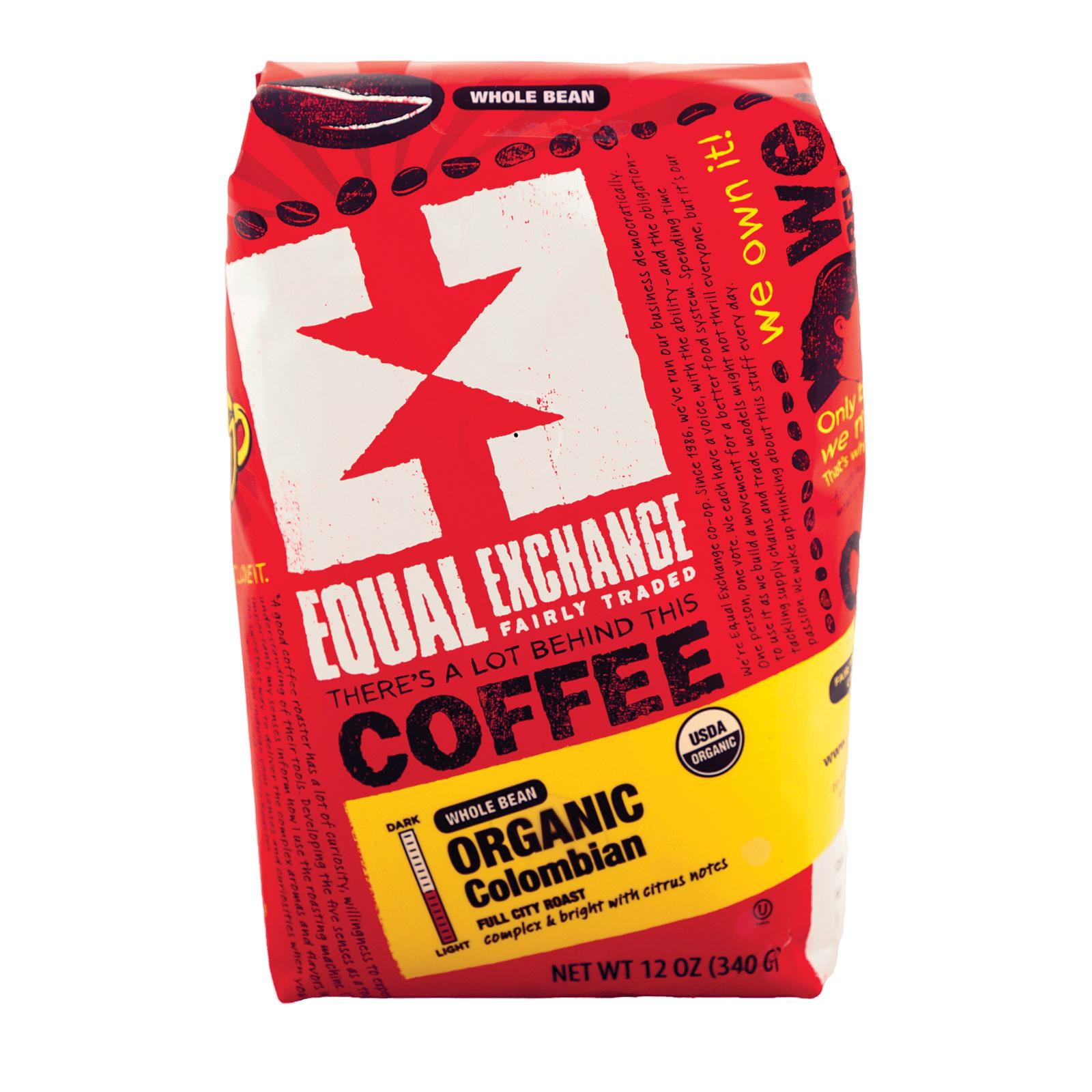 Equal Exchange Organic Whole Bean Coffee - Columbian - Case Of 6 - 12 Oz.