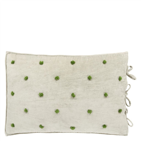 Sevanti Dove Rectangular Quilted Cushion With Pom Poms