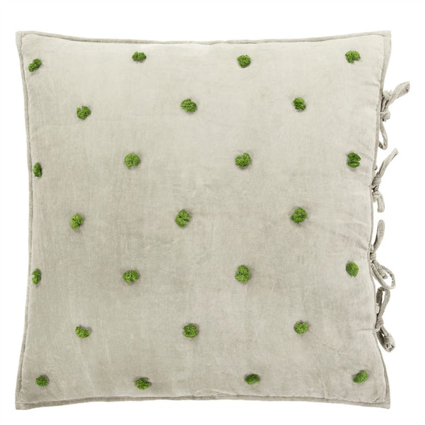 Sevanti Dove Square Quilted Cushion With Pom Poms