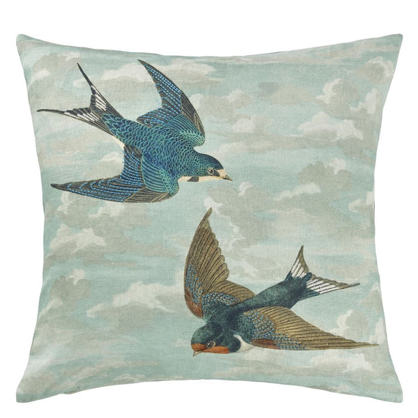 Chimney Swallows Sky Blue Cushion