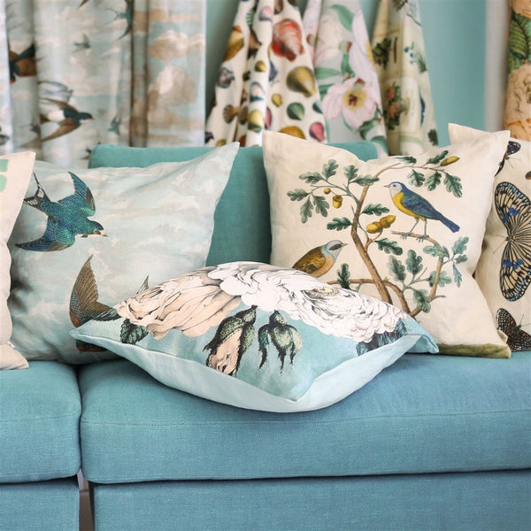 John Derian Chimney Swallows Sky Blue Cushion