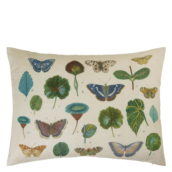 A Leaf and Butterfly Study Linen Cushion