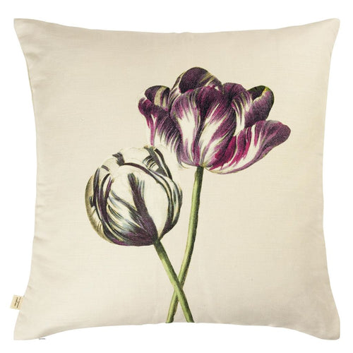 John Derian Variegated Tulips Buttermilk Cushion