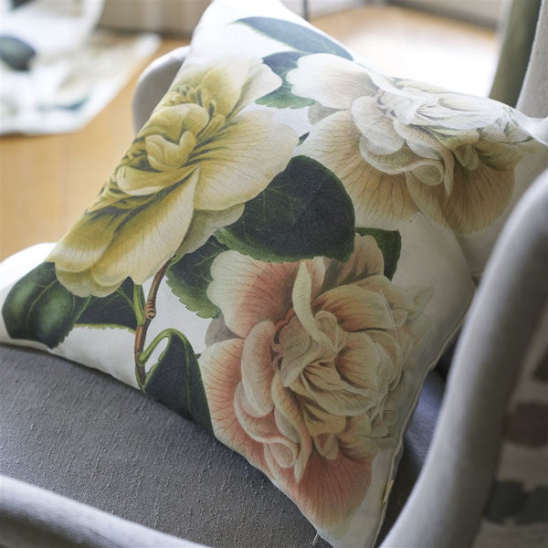 John Derian Camellia Folly Parchment Cushion