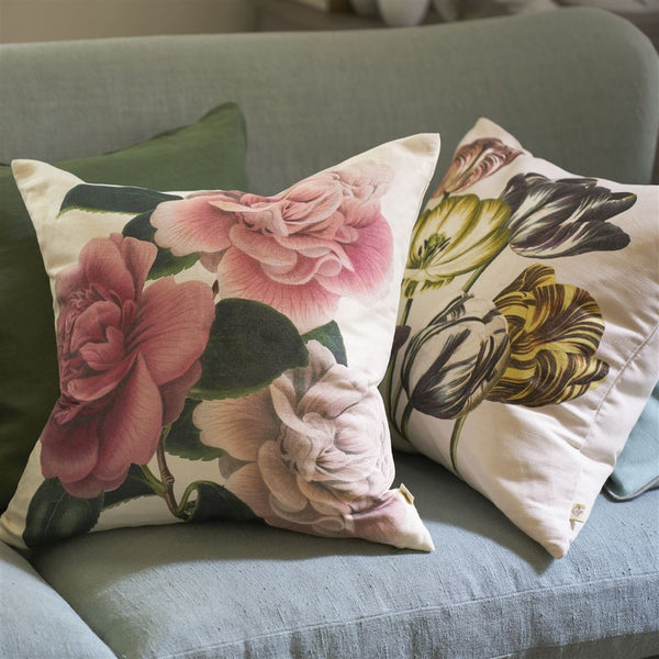 John Derian Camellia Folly Tuberose Cushion