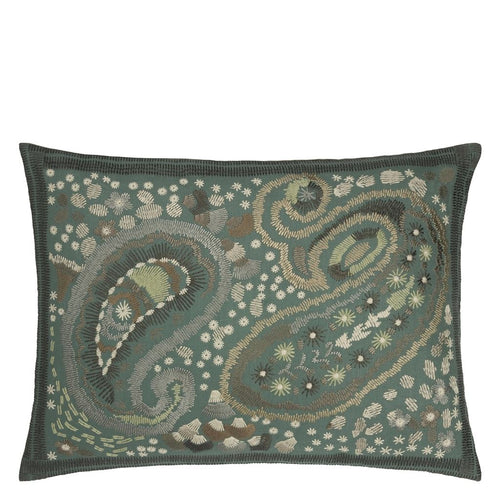 Uchiwa Teal Cushion