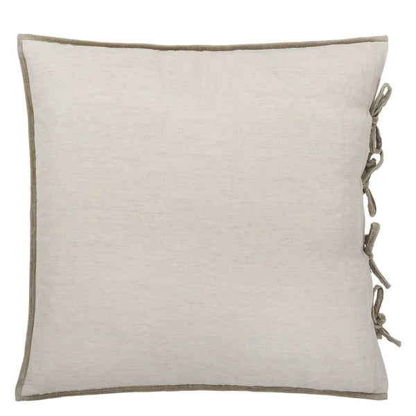 Designers Guild Sevanti Dove Square Quilted Cushion With Pom Poms