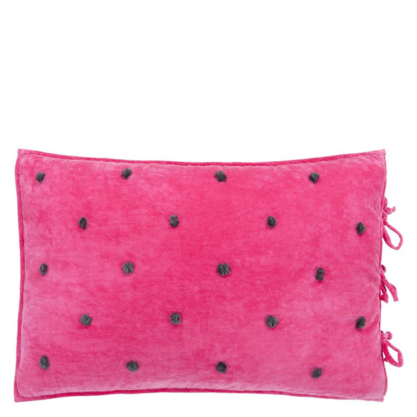 Sevanti Fuchsia Rectangular Quilted Cushion with Pom Poms