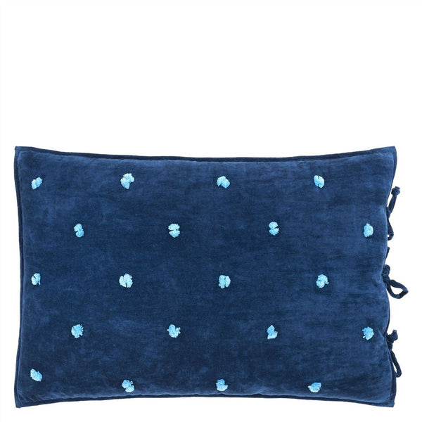 Sevanti Indigo Rectangular Quilted Cushion With Pom Poms