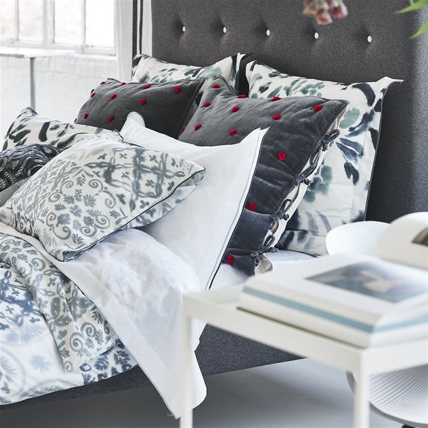 Designers Guild Sevanti Graphite Square Quilted Cushion With Pom Poms