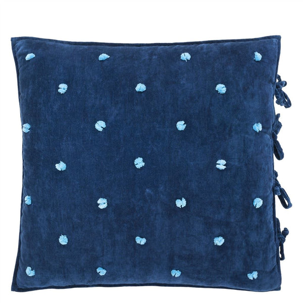 Designers Guild Sevanti Indigo Square Quilted Cushion With Pom Poms
